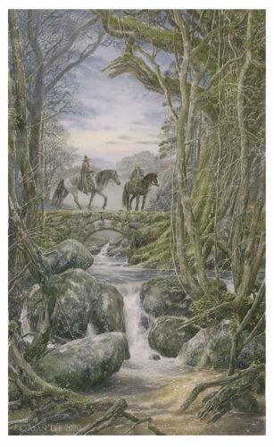 Une illustration à l'aquarelle par Alan Lee montrant la rencontre entre Gandalf et Thorin dans la campagne de Brie.