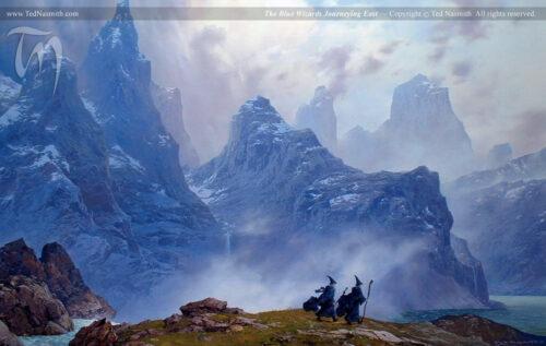 Une illustration à la gouache par Ted Nasmith montrant un paysage de montagne et deux silhouettes de mages s'éloignant.