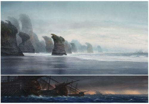 Une illustration de John Howe montrant une côte de Númenor et des bateaux voguant sur la mer.